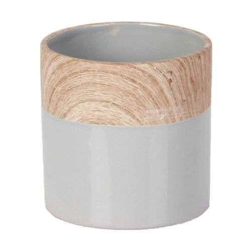 Concrete Grey and Wood Effect Small Ceramic Planter 11cm High x 11.5cm diameter